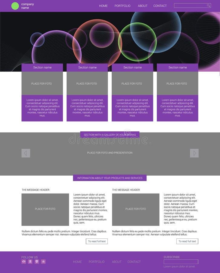 Molde do Web site Estilo liso moderno com bandeira ilustração do vetor