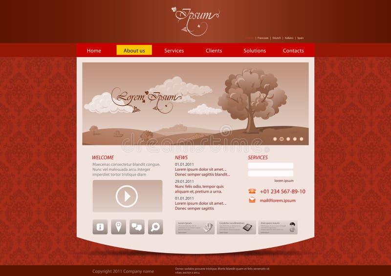 Molde do Web site para o hotel, restaurante, beuty ilustração stock
