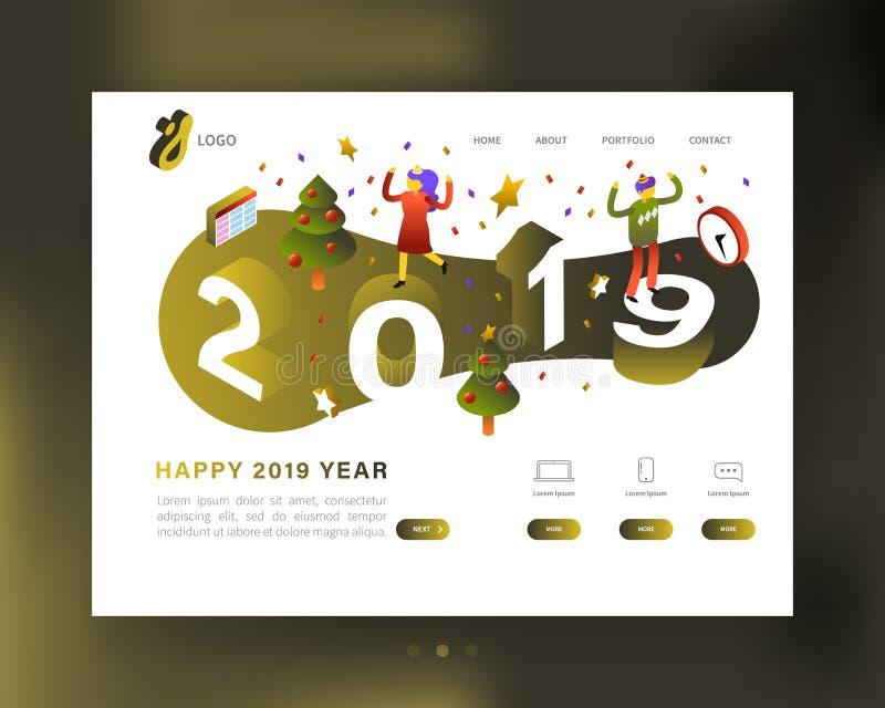 Molde 2019 do Web site do partido do ano novo feliz Página de aterrissagem isométrica dos feriados de inverno, bandeira com carát ilustração stock