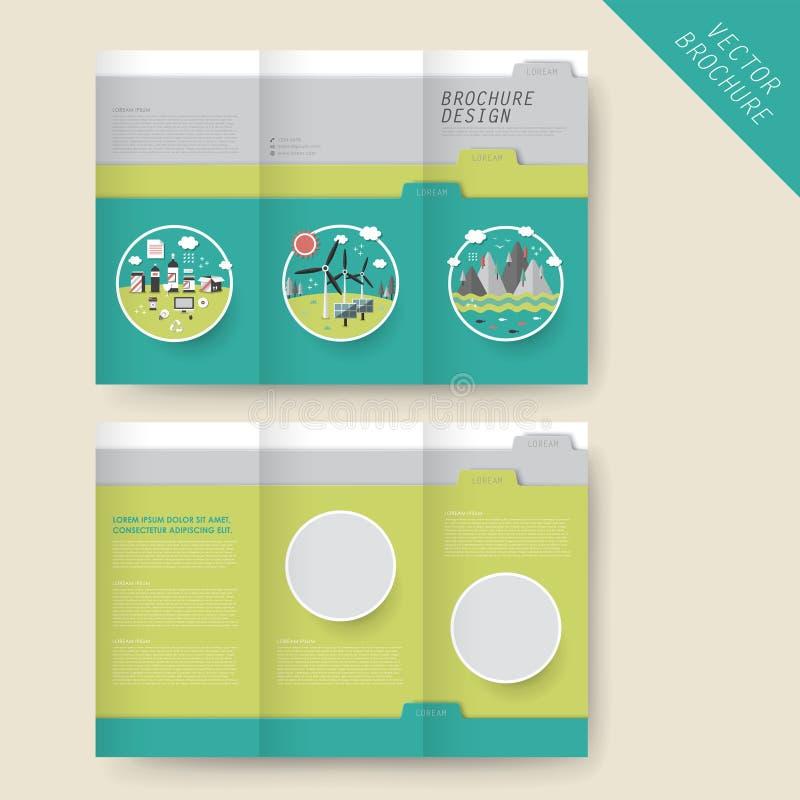 Molde dobrável em três partes do folheto do conceito da ecologia ilustração royalty free