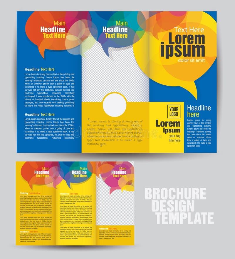 Molde dobrável em três partes incorporado do projeto do folheto do negócio ilustração stock