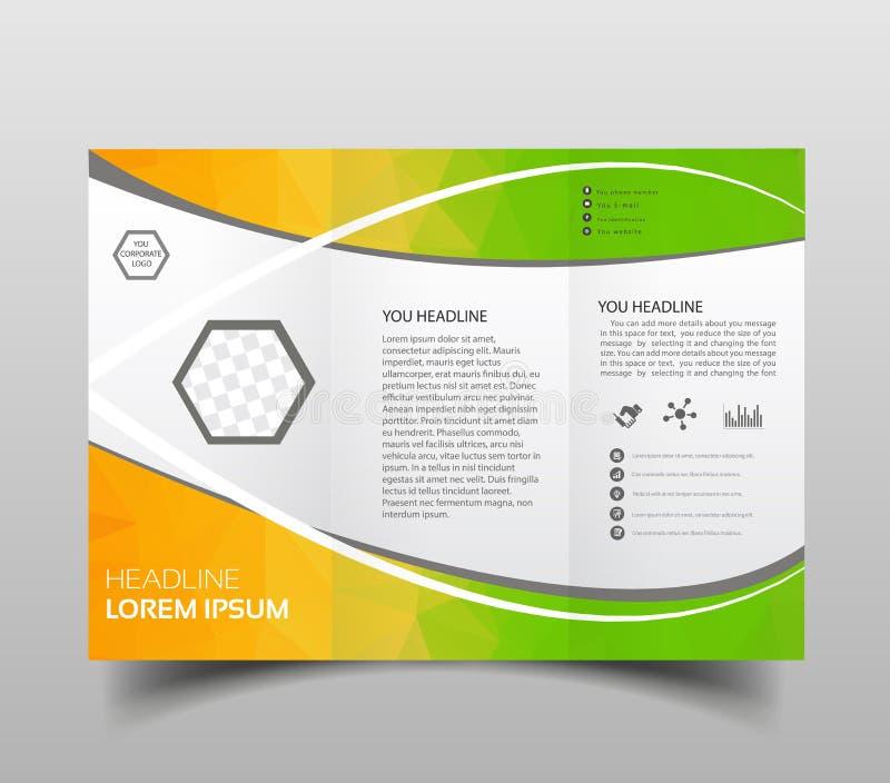 Molde dobrável em três partes moderno do projeto do folheto do vetor com fundo poligonal da olá!-tecnologia ilustração royalty free
