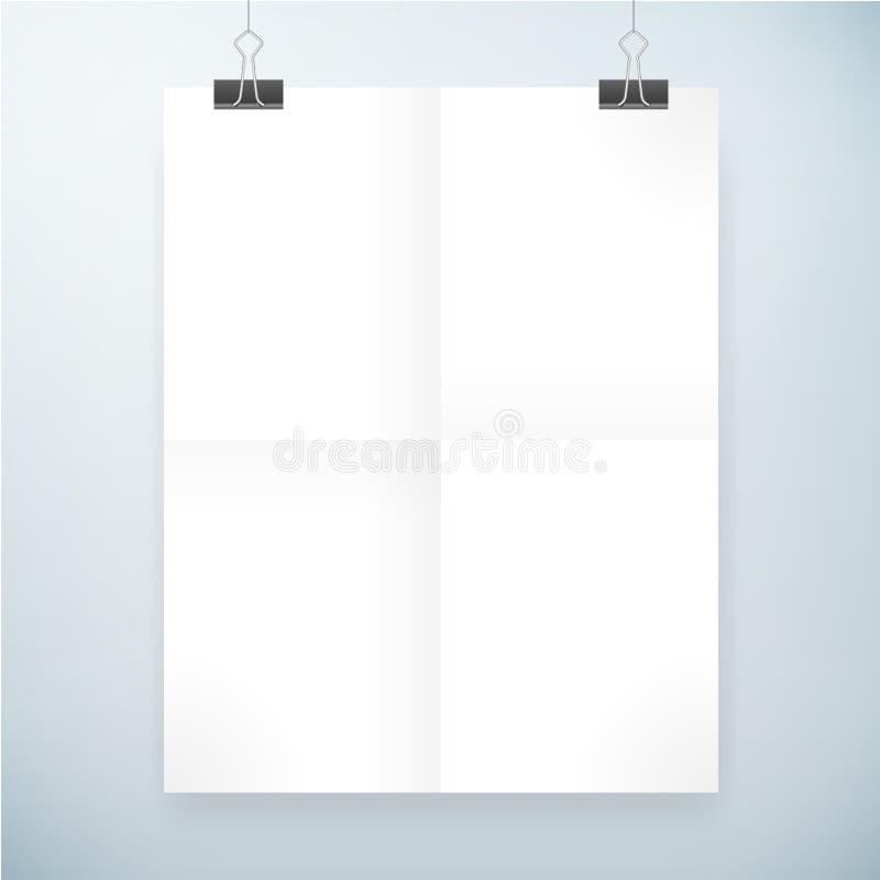 Molde dobrado do cartaz do papel vazio ilustração do vetor