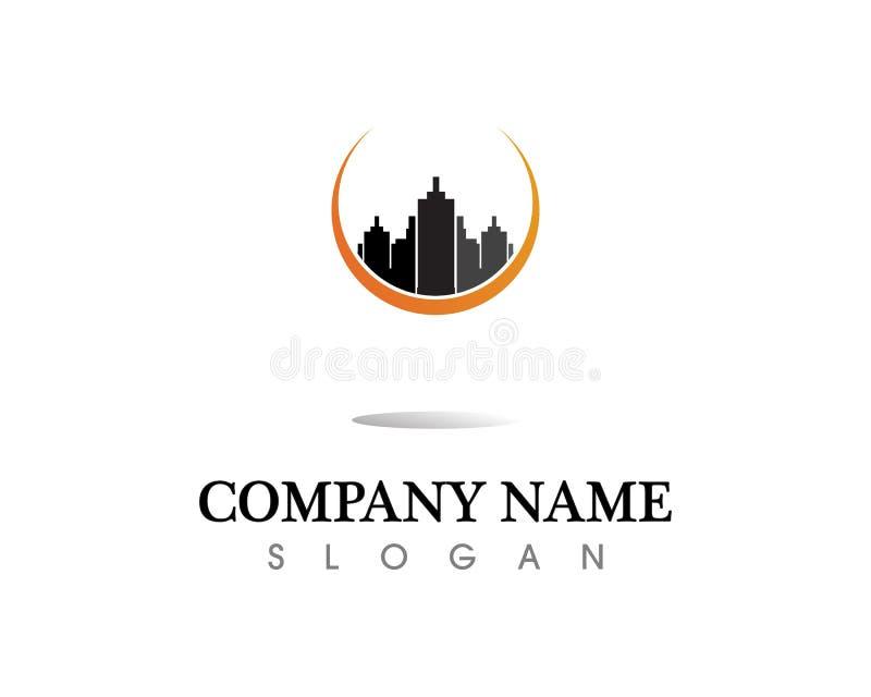Molde dos ícones do logotipo dos bens imobiliários e das construções de casas imagem de stock