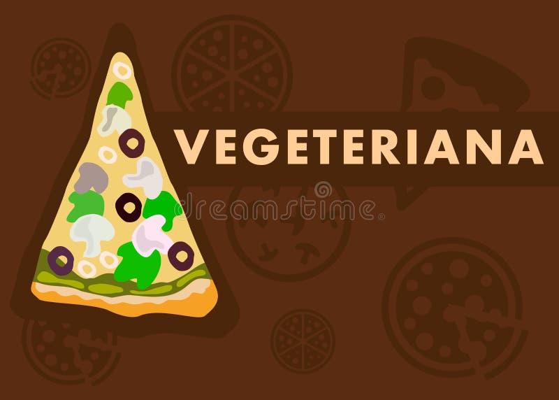 Molde dos desenhos animados da bandeira da Web da pizza de Vegetariana ilustração royalty free