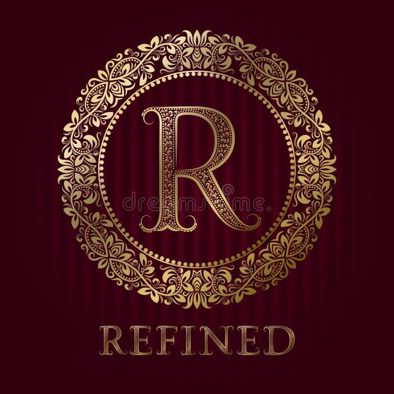 Molde dourado do logotipo para o boutique refinado Monograma do vetor ilustração stock
