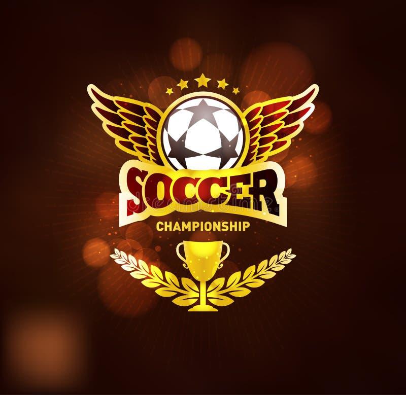 Molde dourado do projeto do emblema do vencedor do campeonato do futebol ilustração stock