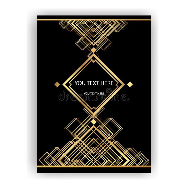 Molde dourado-preto, A4 página de Art Deco, menu, cartão, convite ilustração royalty free