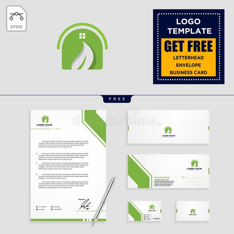 molde e artigos de papelaria do logotipo da natureza do eco da folha da casa ilustração do vetor