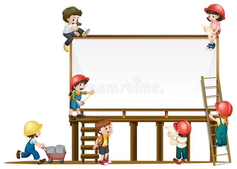 Molde e crianças da placa que trabalham na construção ilustração royalty free