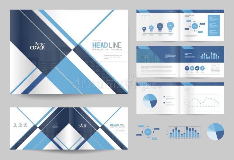 Molde e disposição de página do projeto do folheto do negócio para o perfil da empresa ilustração stock