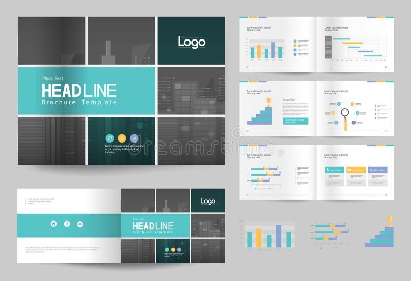 Molde e disposição de página do projeto do folheto do negócio para o perfil da empresa, informe anual, ilustração royalty free