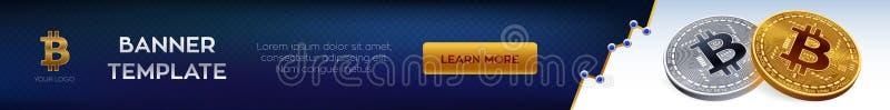 Molde editável da bandeira de Cryptocurrency Bitcoin moeda física isométrica do bocado 3D Bitcoins dourados e de prata Ilustração ilustração royalty free
