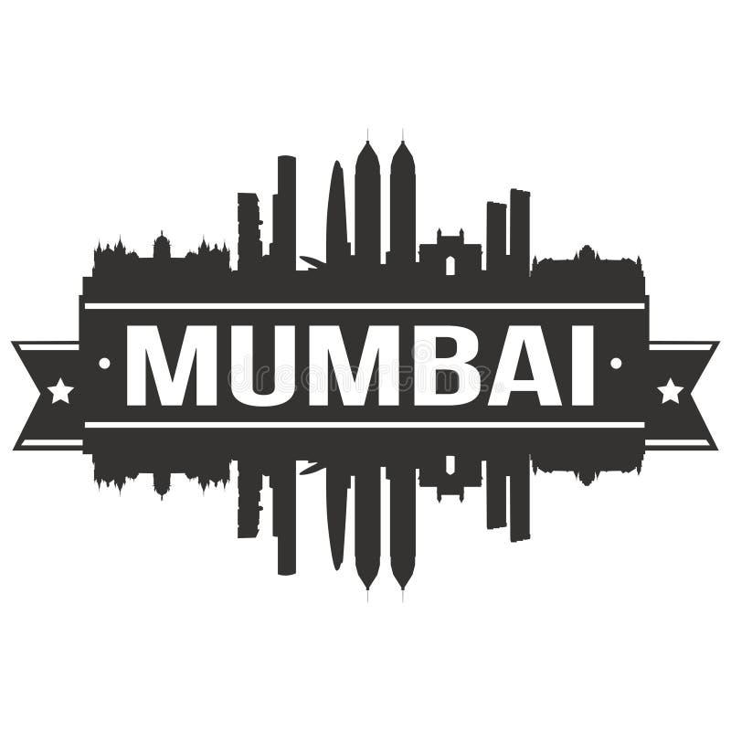 Molde editável da silhueta de Art Design Skyline Flat City do vetor do ícone de Ásia da Índia de Mumbai ilustração royalty free