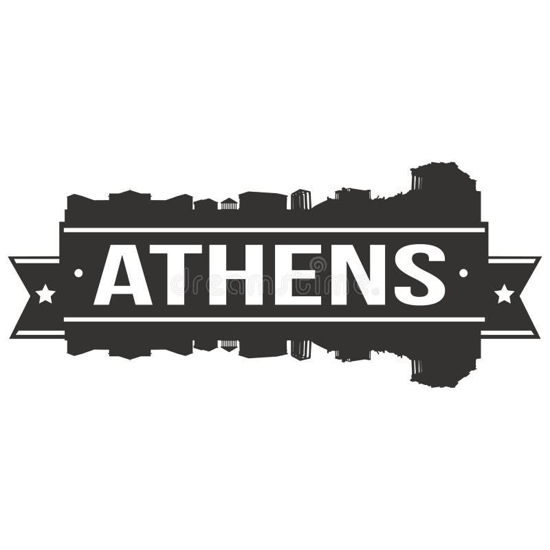 Molde editável da silhueta de Art Design Skyline Flat City do vetor do ícone de Europa do Euro de Atenas Grécia ilustração royalty free