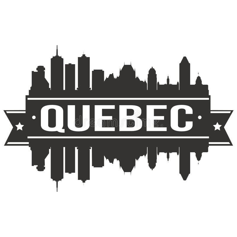 Molde editável da silhueta de Art Design Skyline Flat City do vetor do ícone de Quebeque Canadá America do Norte ilustração royalty free