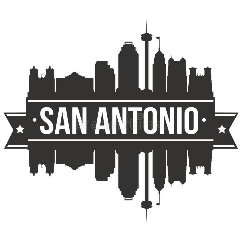 Molde editável da silhueta de Art Design Skyline Flat City do vetor do ícone de San Antonio Texas United States Of America EUA ilustração stock