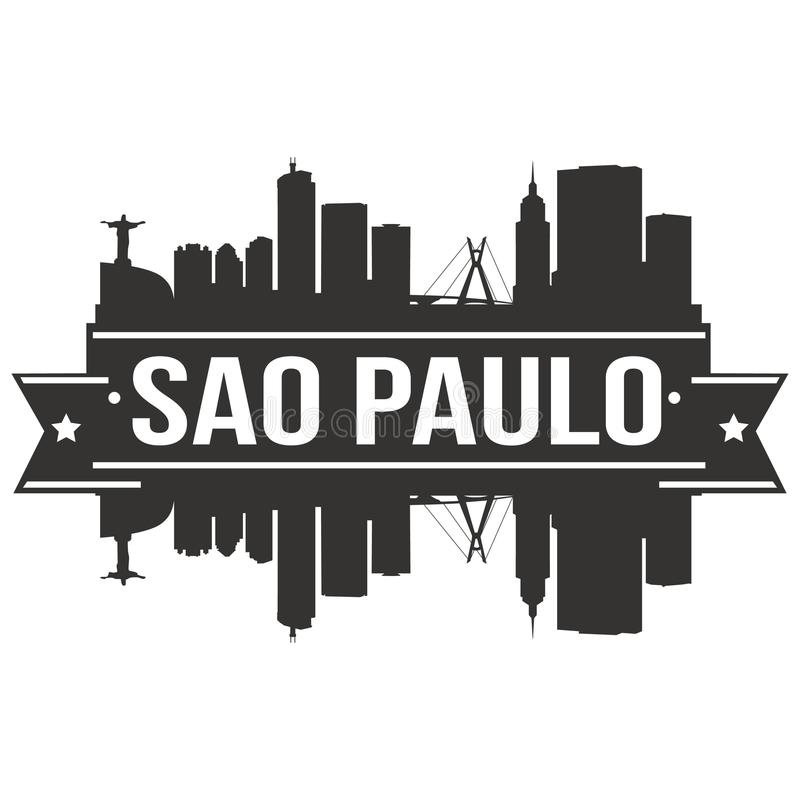 Molde editável da silhueta de Art Design Skyline Flat City do vetor de Paulo Brazil South America Icon do Sao ilustração royalty free