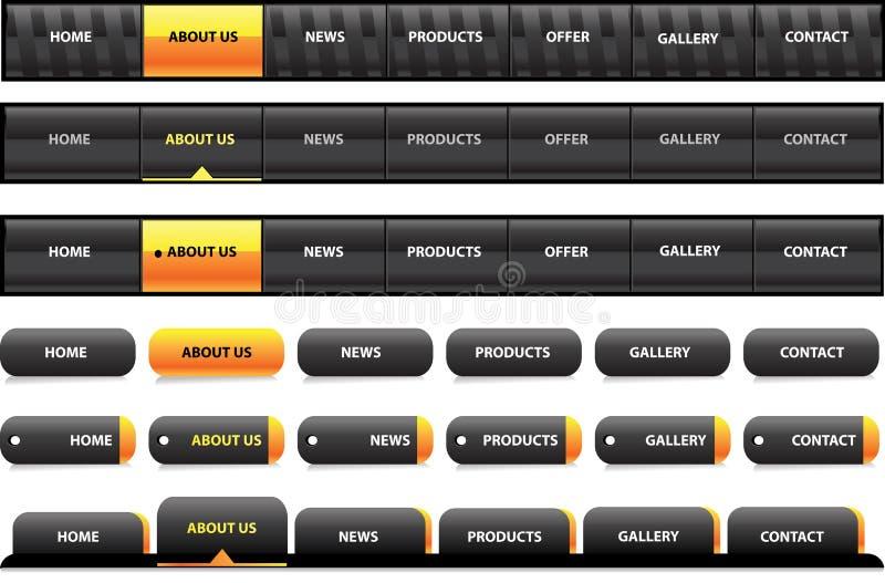 Molde Editable da navegação do Web site - preto e w ilustração do vetor