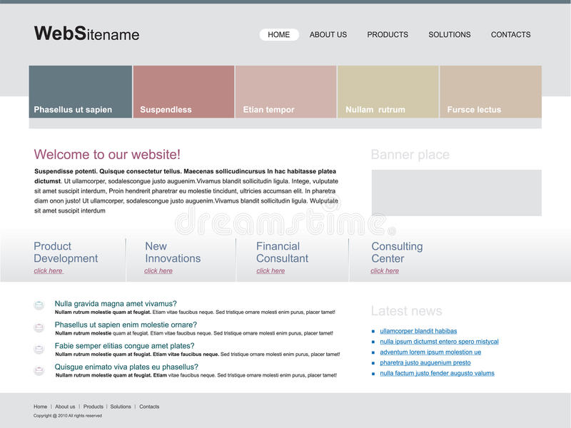 Molde Editable do Web site ilustração do vetor