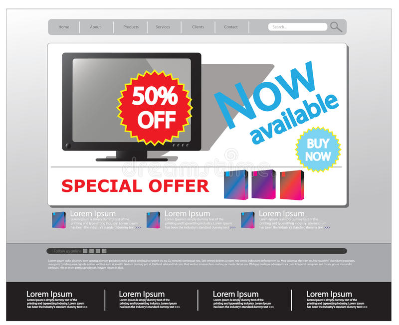 Molde Editable do Web site para vendas ilustração stock
