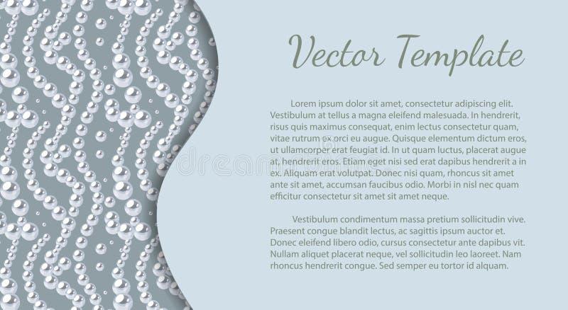 Molde elegante com teste padrão da pérola Projeto do vetor para bandeiras, cart?es, convite do casamento foto de stock