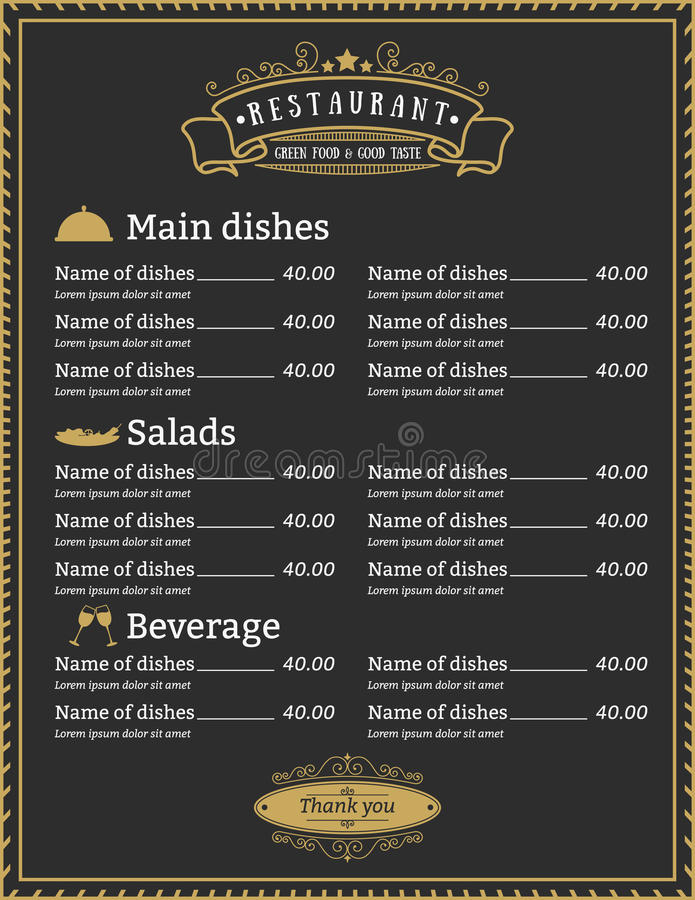 Molde elegante do menu do restaurante ilustração stock