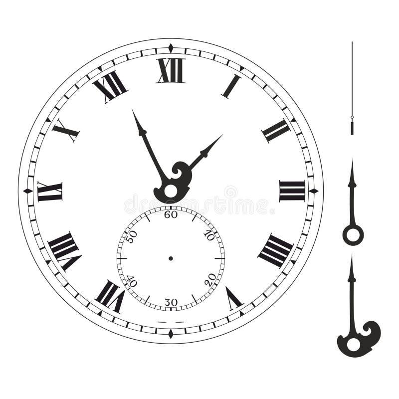 Molde elegante velho da face do relógio com numerais e setas ilustração stock