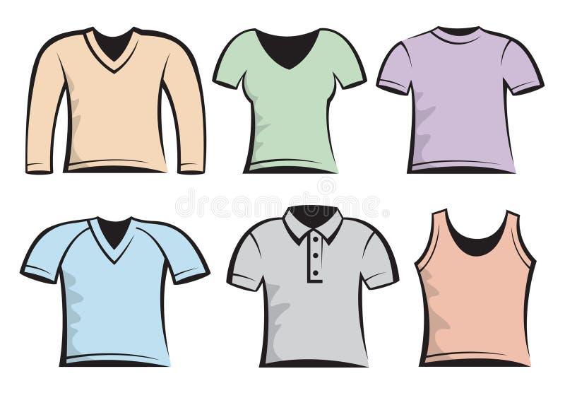 Molde em branco dos t-shirt ilustração royalty free