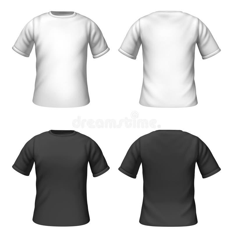 Molde em branco dos t-shirt com cor preto e branco ilustração stock