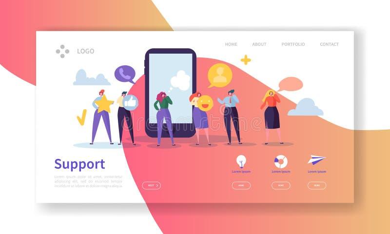 Molde em linha da página da aterrissagem do suporte laboral Disposição do Web site do serviço do auxílio com o operador liso dos  ilustração stock