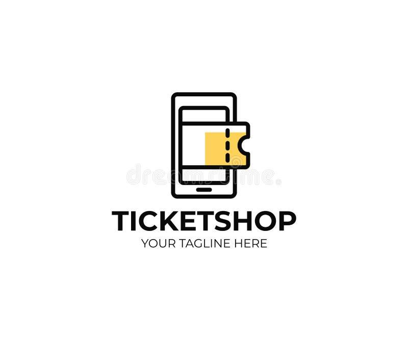 Molde em linha do logotipo da loja do bilhete Projeto do vetor do telefone celular e dos bilhetes ilustração do vetor
