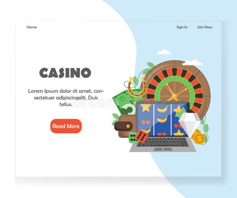 Molde em linha do projeto da página da aterrissagem do Web site do casino do vetor ilustração royalty free
