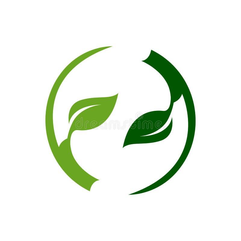 Molde escuro abstrato do logotipo da folha da luz verde do círculo ilustração royalty free