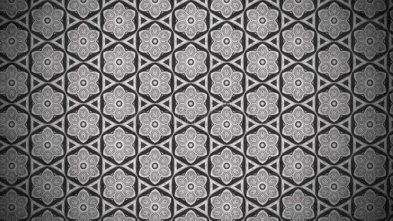 Molde escuro do fundo de Grey Vintage Floral Pattern Texture ilustração do vetor