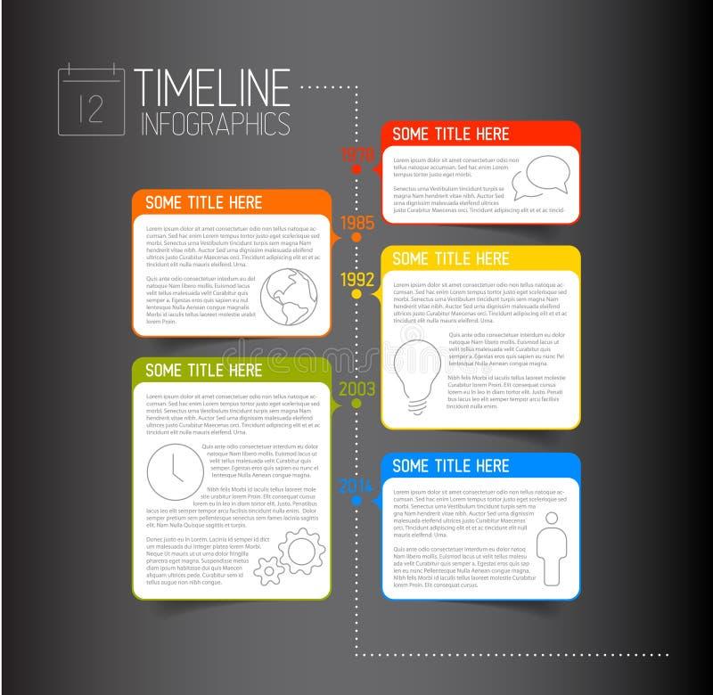 Molde escuro do relatório do espaço temporal de Infographic com bolhas descritivas ilustração stock
