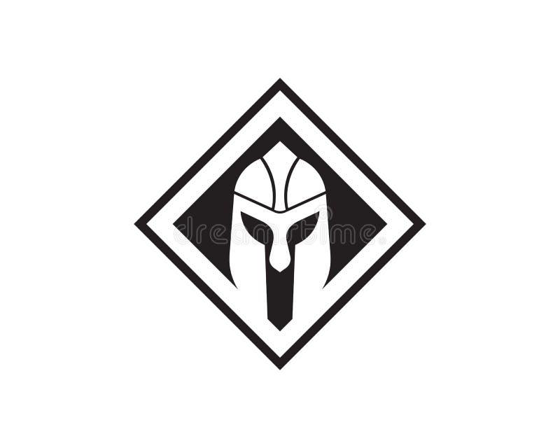 Molde espartano do logotipo do capacete ilustração royalty free