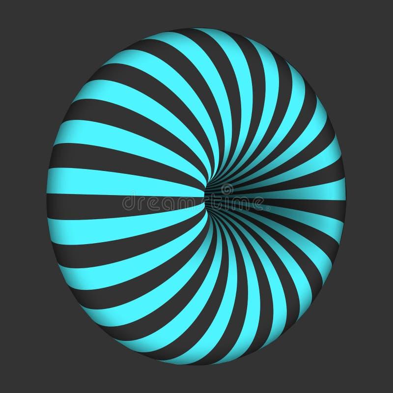 Molde espiral da ilusão ótica do vetor Forma torcida espiral do Bagel do redemoinho ilustração stock