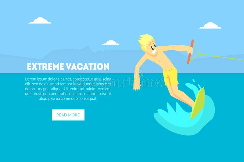 Molde extremo da página da aterrissagem das férias, homem que monta Wakeboard em férias de verão, ilustração do vetor do esqui aq ilustração royalty free