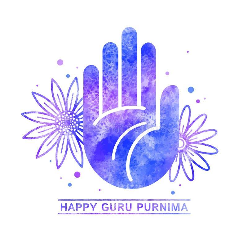 Molde feliz da aquarela do cartão de Guru Purnima ilustração stock