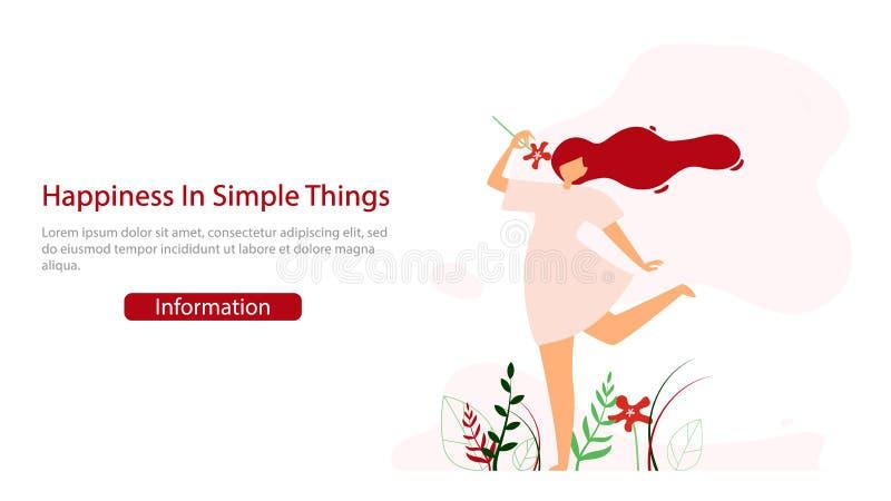 Molde feliz da bandeira da Web do vetor do estilo de vida das mulheres ilustração do vetor