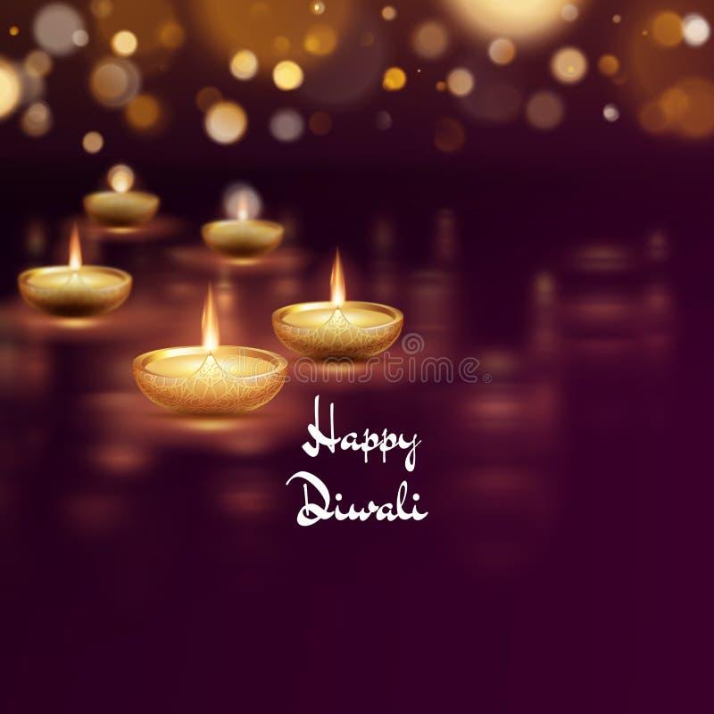 Molde feliz da lâmpada de óleo do diya do diwali Festival de Deepavali do indiano de luzes hindu Eps 10 ilustração royalty free