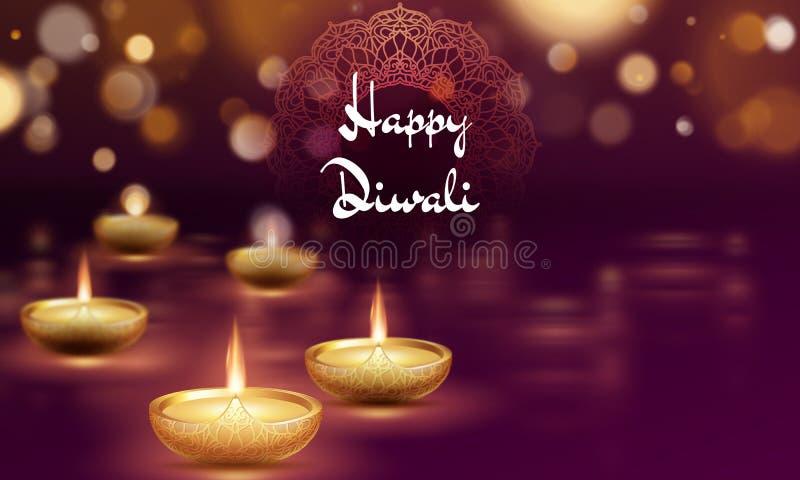 Molde feliz da l?mpada de ?leo do diya do diwali Festival de Deepavali do indiano de luzes hindu Eps 10 ilustração stock