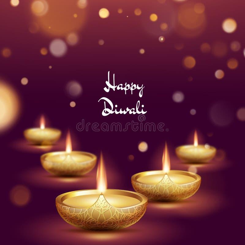 Molde feliz da l?mpada de ?leo do diya do diwali Festival de Deepavali do indiano de luzes hindu Eps 10 ilustração do vetor