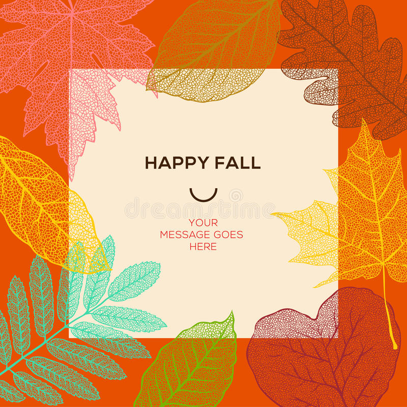 Molde feliz da queda com folhas de outono e texto simples ilustração royalty free