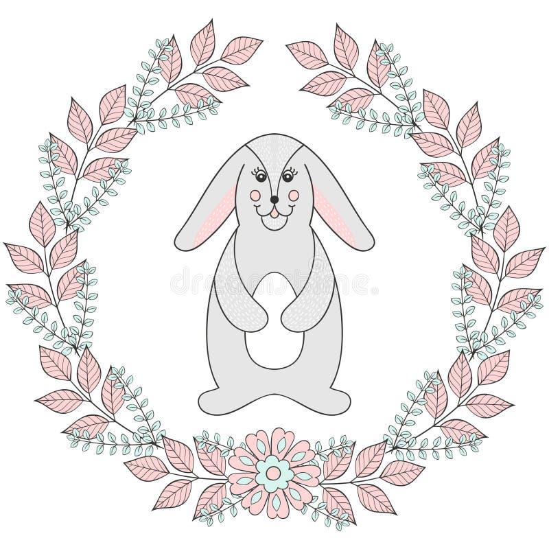 Molde feliz do cartão da Páscoa Coelho engraçado, coelho ilustração stock