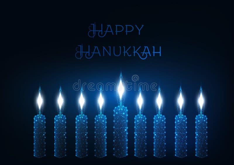 Molde feliz do cartão de hanukkah com nove velas ardentes de incandescência em escuro - fundo azul ilustração royalty free