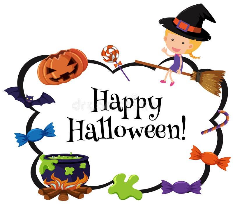 Molde feliz do cartão do Dia das Bruxas com bruxa e doces ilustração stock