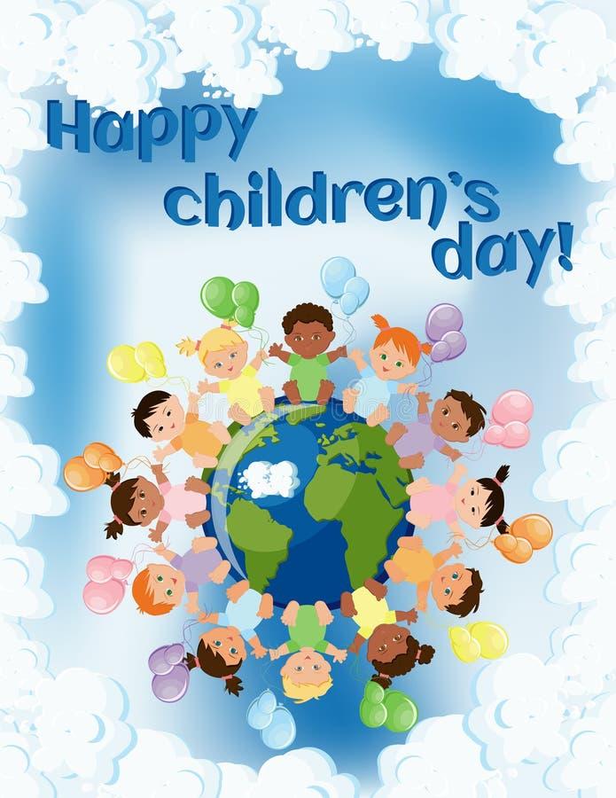 Molde feliz do cartão do dia das crianças com as crianças que sentam-se em torno da terra e que guardam balões coloridos, e texto ilustração royalty free