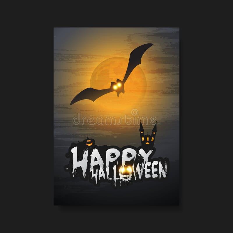 Molde feliz do cartão, do inseto ou de tampa de Dia das Bruxas - bastão do voo sobre um castelo escuro e várias criaturas assusta ilustração stock
